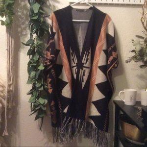 🌿Ikat Aztec southwestern cape cardigan sweater OS